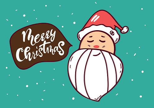 Cute Smiling Santa Claus character head white beard in traditional Christmas holiday merry santa clauses. Vector illustration with Merry Father Christmas personage. hand drawing