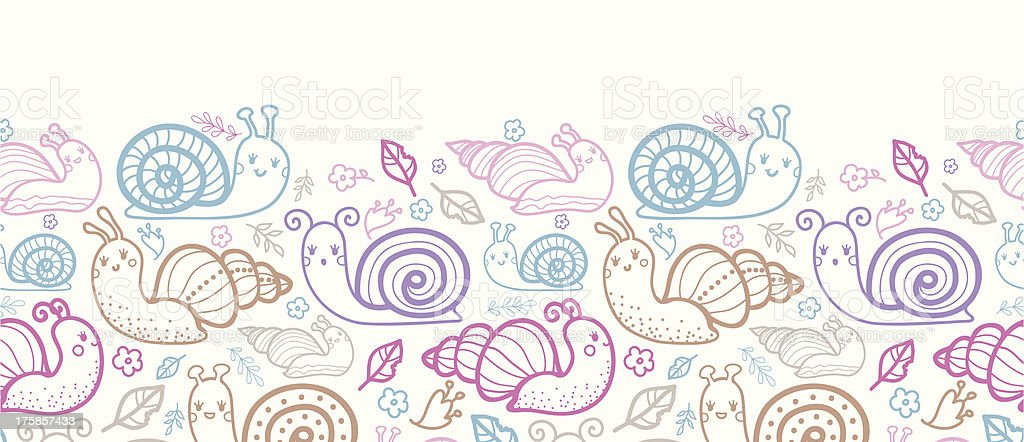 Cute smiling snails horizontal seamless pattern background royalty-free stock vector art