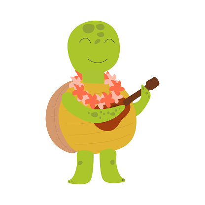 Cute smiling turtle playing the ukulele. Hawaiian character. Childrens illustration on white background. Design for card, print, book, kids story, childish decor.