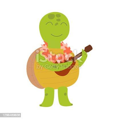 Hawaiian turtle playing the ukulele