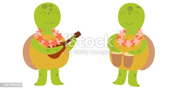istock Cute smiling turtles plays drums and ukulele. Hawaiian character. Childrens illustration on white background. Design for card, print, book, kids story, childish decor. 1301395333