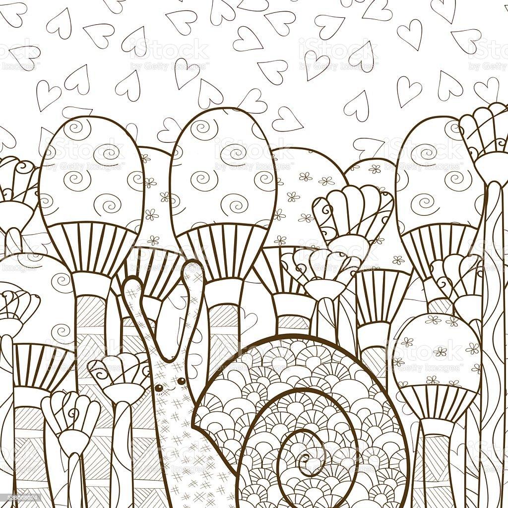 Coloriage Adulte Foret.Joli Escargot Champignons Dans Une Foret Adulte Page De Livre De