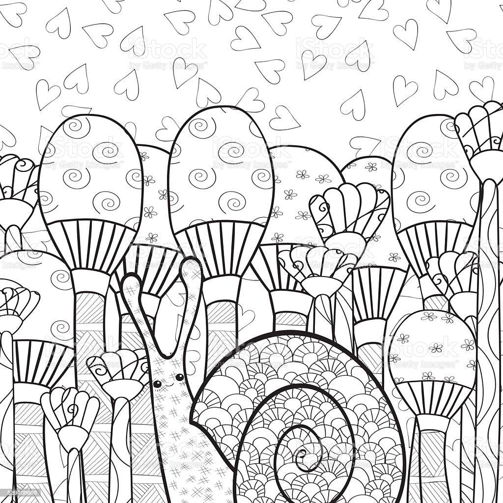 Ladna Slimak Grzyb W Lesie Doroslych Kolorowanka Stronie Stockowe Grafiki Wektorowe I Wiecej Obrazow Bazgroly Rysunek Istock