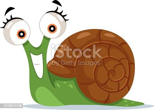 Funny smiling green slug character design