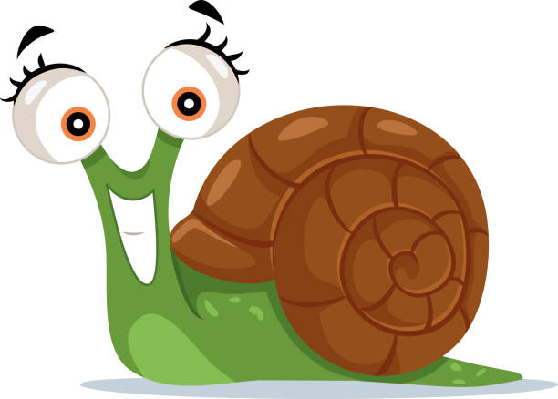 cute snail vector cartoon illustration - snail stock illustrations