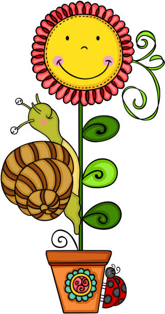 Royalty Free Sunflower With Ladybugs Clip Art, Vector ...