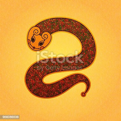 Cute Snake Vector Cartoon Illustration Isolated Serpent Art Symbol