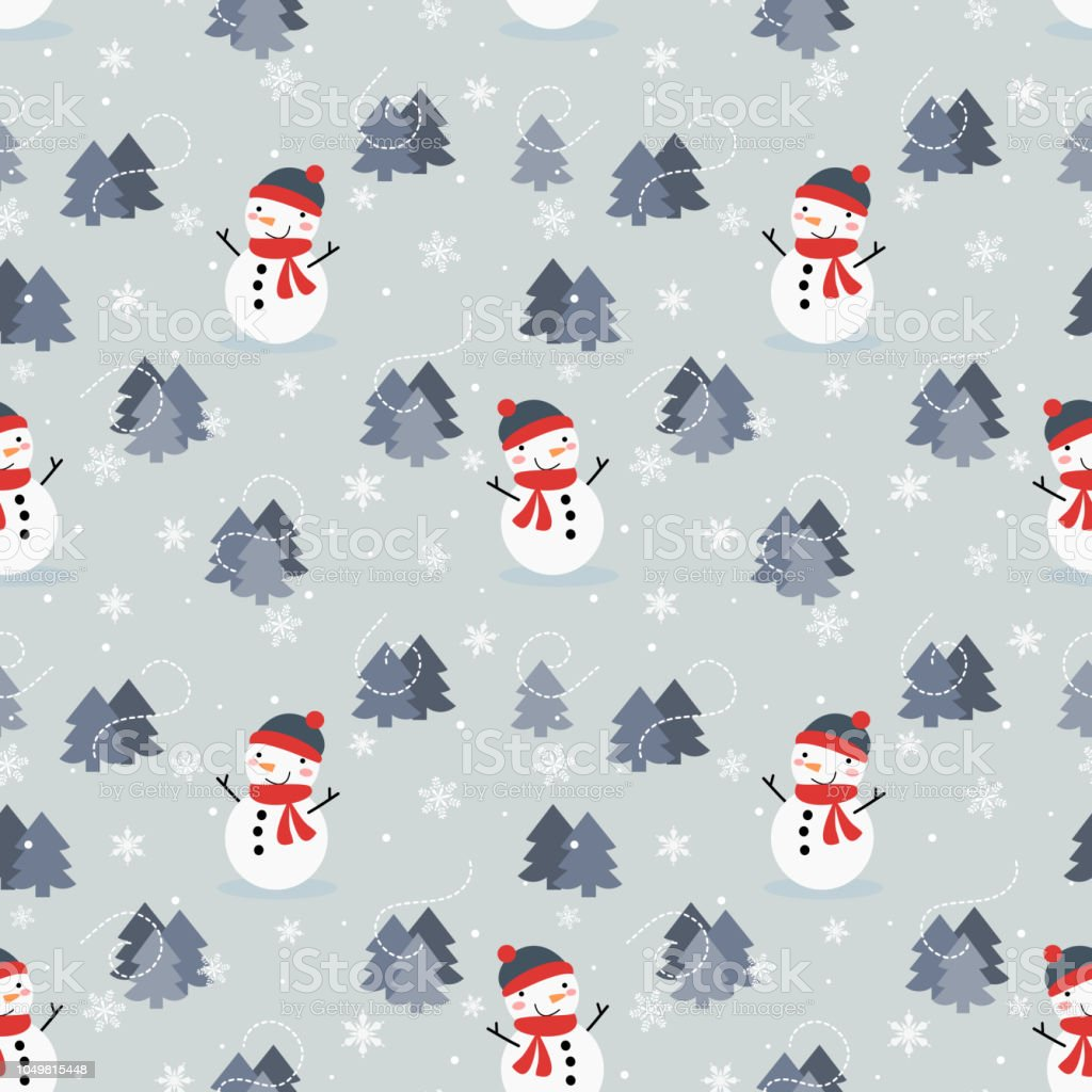 Cute Snowman And Christmas Tree Seamless Pattern Stock Vector Art ...