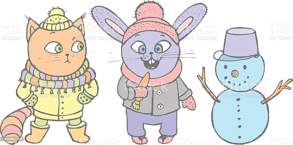 Cute snowman, cat and rabbit going to eat the carrot ilustração de cute snowman cat and rabbit going to eat the carrot e mais banco de imagens de alegria royalty-free
