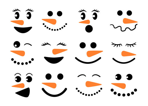 Cute snowman faces - vector collection. Snowman heads. Vector illustration isolated. Cute snowman faces - vector collection. Snowman heads. Vector illustration isolated on white background. snowman stock illustrations