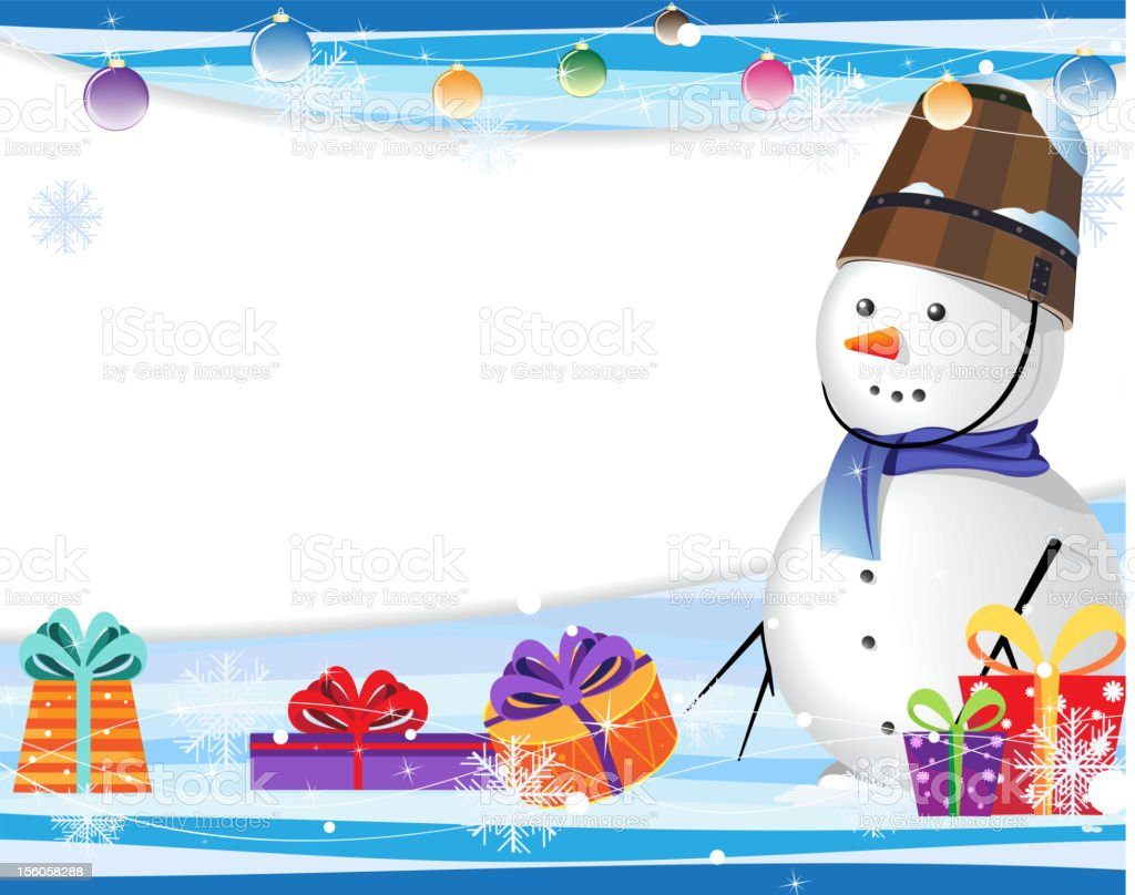 Cute snowman in a blue scarf royalty-free stock vector art