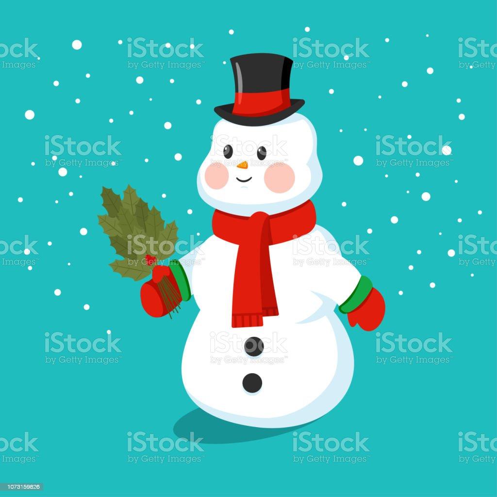 c7c8546e7dedd Cute Snowman In A Hat Scarf And Mittens Vector Cartoon Funny ...