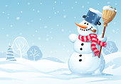 A cute snowman with a broom, a scarf and a pot on his head, standing in a meadow on a snowy winter day. Vector illustration with space for text.