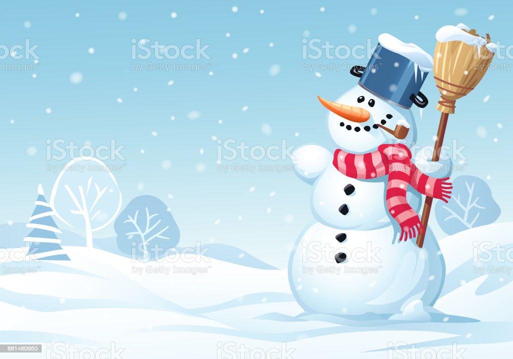 Mignon bonhomme de neige debout dans une prairie - Illustration vectorielle