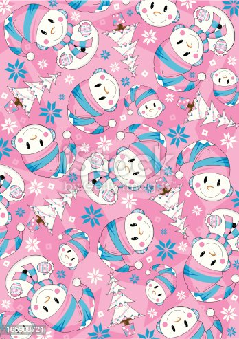 istock Cute Snowman & Tree Pattern 165908721