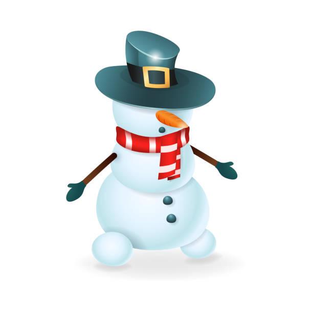 Vectores de Feliz Navidad Muñeco De Nieve Con Sombrero Nariz Y ...