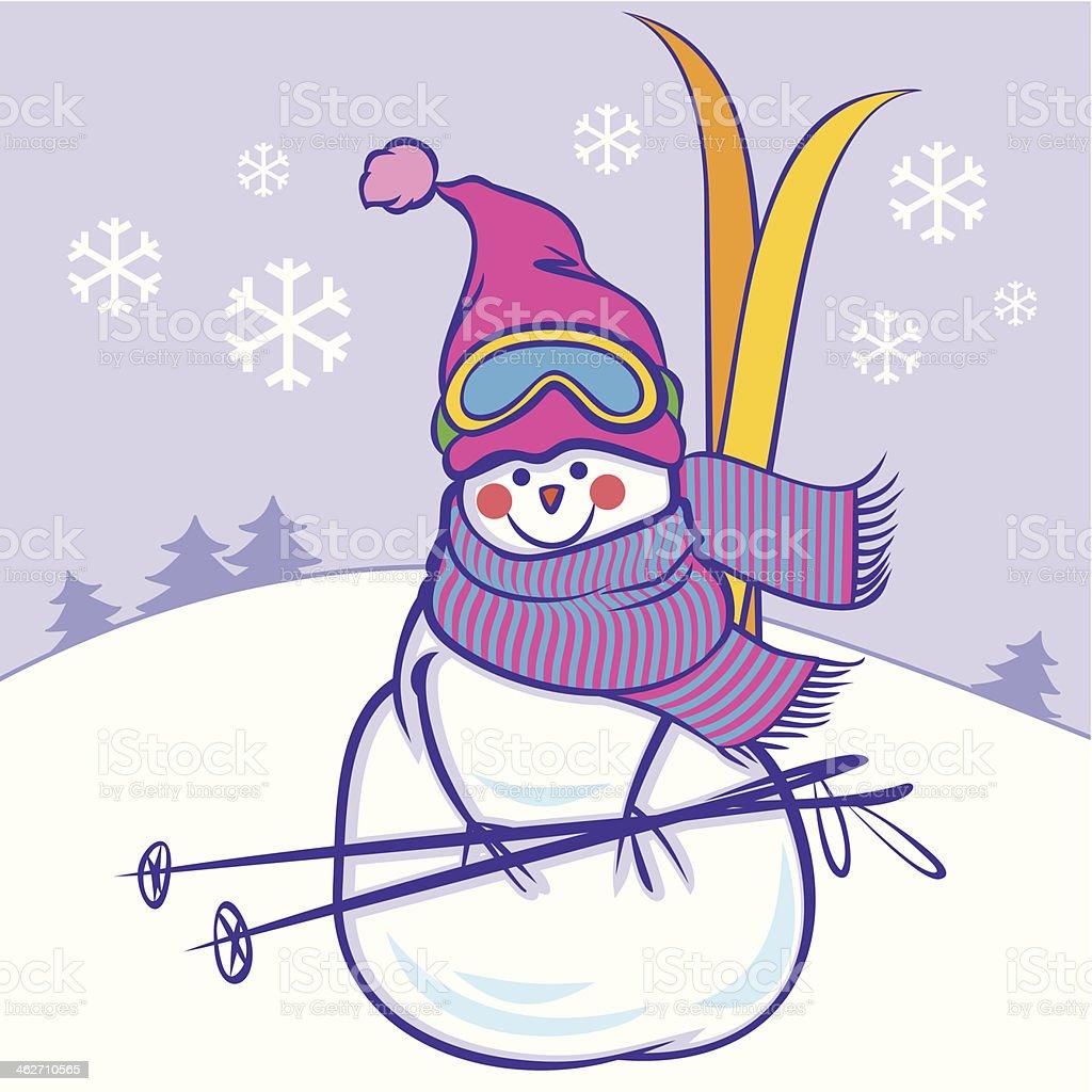 Süße Schneemann mit skier – Vektorgrafik