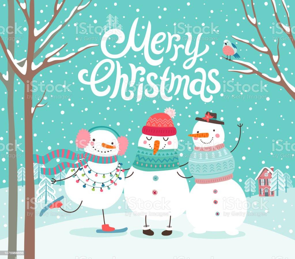 Les bonhommes de neige mignons étreindre. Carte de joyeux Noël, - clipart vectoriel de 2019 libre de droits