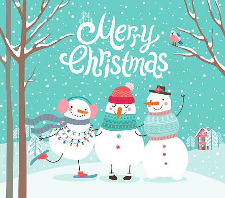 Les Bonhommes De Neige Mignons Étreindre Carte De Joyeux Noël Vecteurs libres de droits et plus d'images vectorielles de 2019