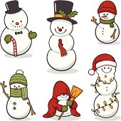 A set of cute snowmen with various accessories, including hats, Christmas canes, gloves, scarves, Christmas hats, a broom, Christmas lights, etc.