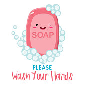 Cute soap with Please Wash your hands title and bubbles. High quality vector. Kawaii style