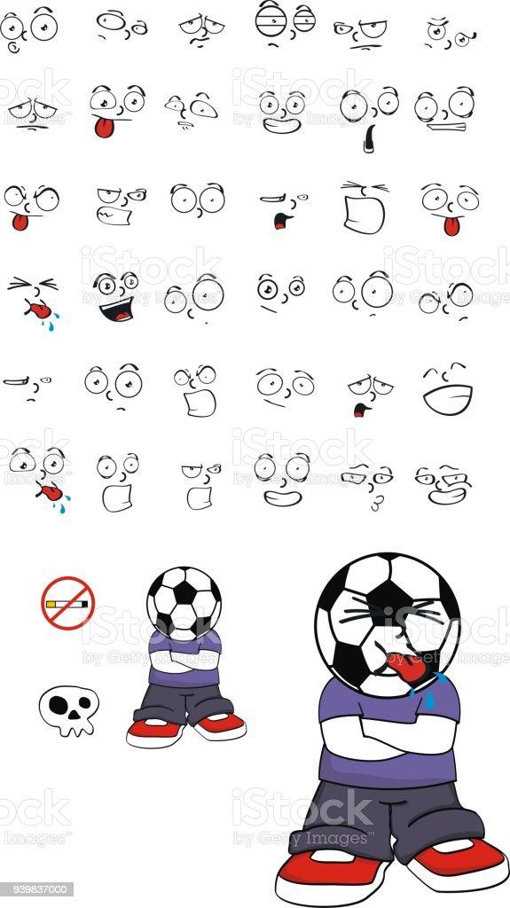 Ilustración De Lindo Fútbol Cabeza Kid Dibujos Animados Expresiones Conjunto Y Más Vectores Libres De Derechos De Alegre