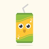 Adorable flat illustration of a green and yellow pop can, or beer can. Great for kids, baby showers, clip art and scrapbooking.