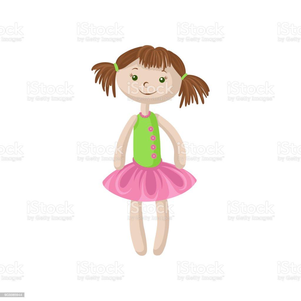 Süße Weiche Puppe Mit Braunen Haaren Nähen Spielzeug Cartoon Vector