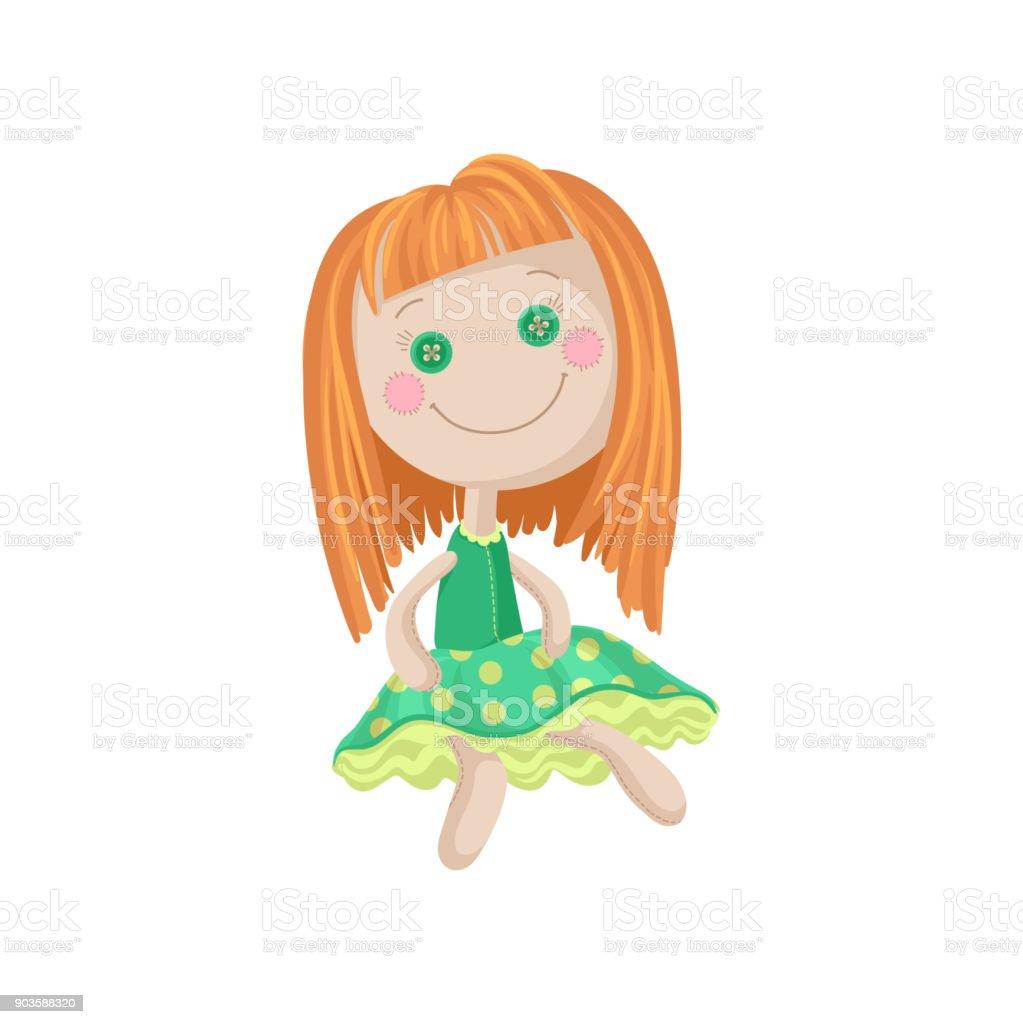 Ilustración de Muñeca Pelirroja Suave Linda En Un Vestido Verde ...