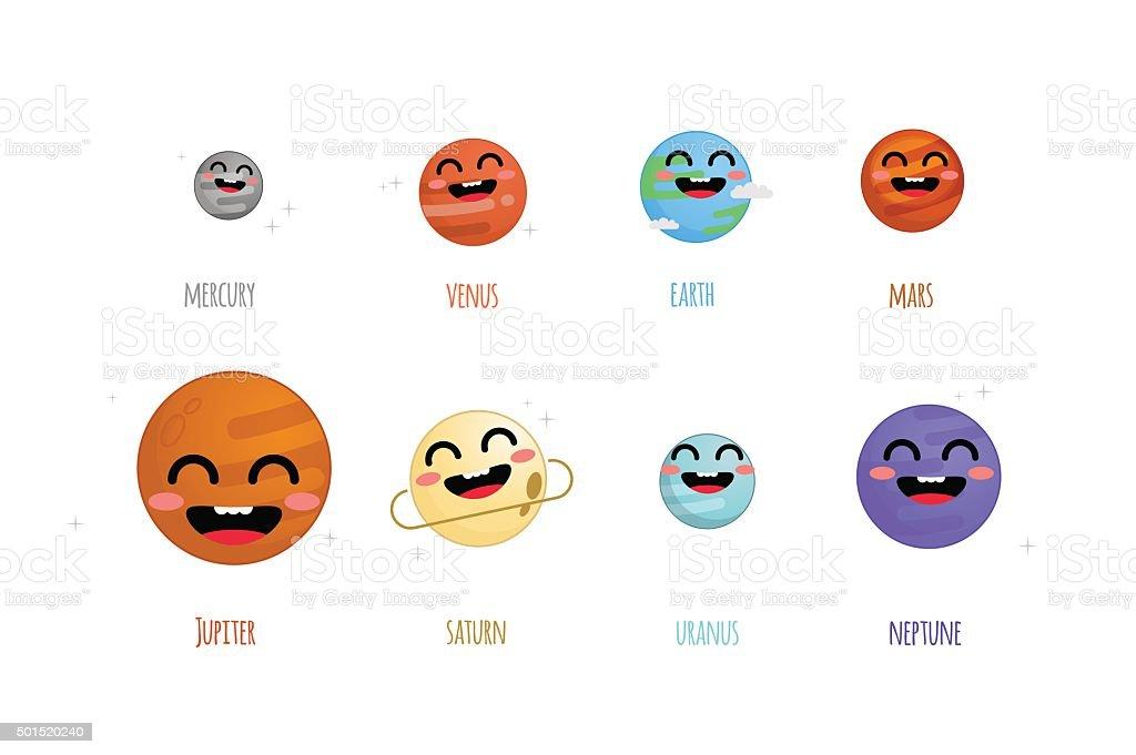 Cute Solar System Vector Illustration stock vector art ...