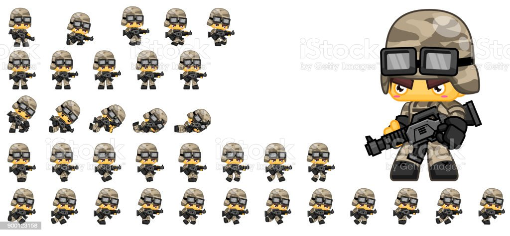 Cute Soldier Game Sprites Stock Vector Art & More Images of ...