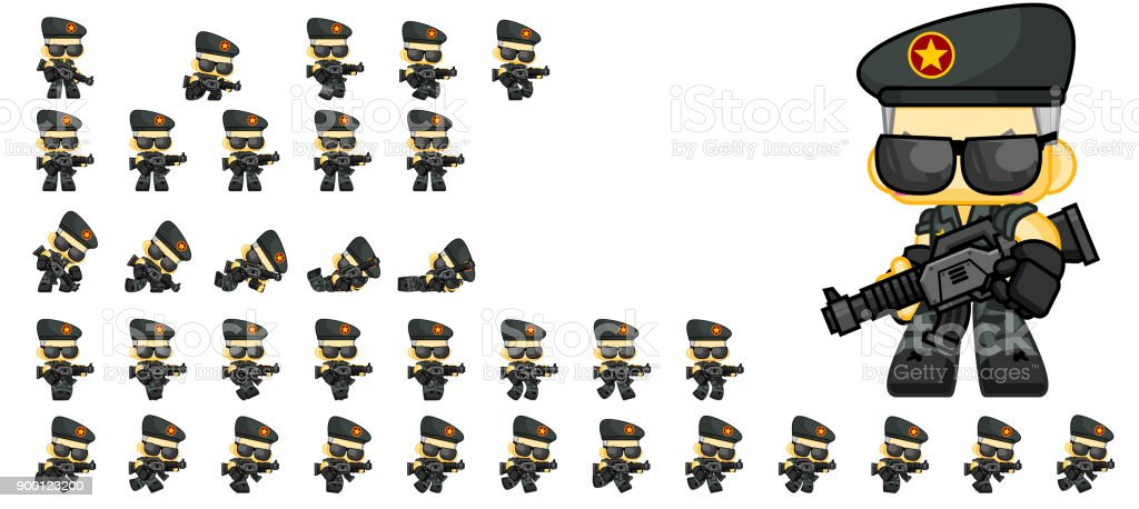 Cute Soldier Game Sprites Stock Illustration - Download Image Now