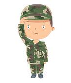 Vector Cute soldier kid