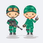 cute soldier, vector illustration