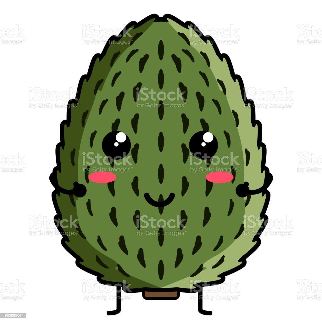 Cute soursop emoticon - Royalty-free Cartoon stock vector