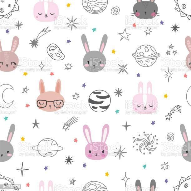 Cute space seamless pattern with cartoon bunnies abstract print with vector id942792776?b=1&k=6&m=942792776&s=612x612&h=ur4x7edyao7b43csbt ctudbdaekbsksd2oeem3i1lw=