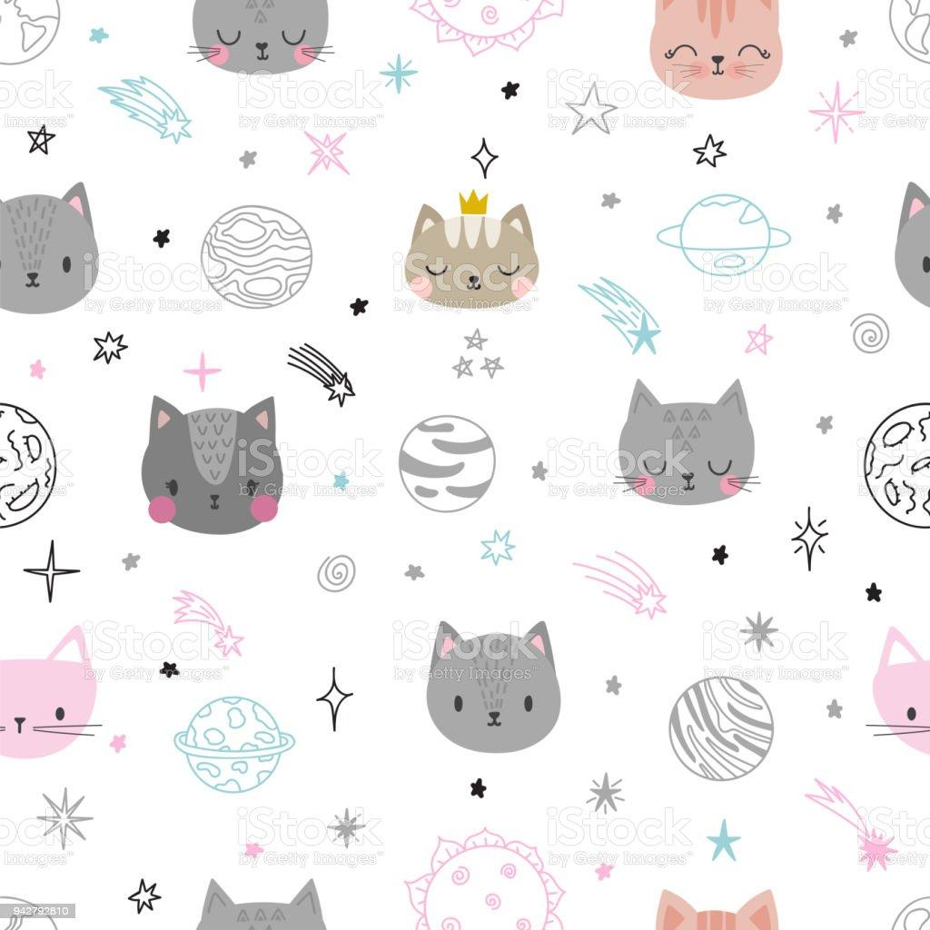 Ilustración de De Patrones Sin Fisuras Con Los Gatos De Dibujos ...