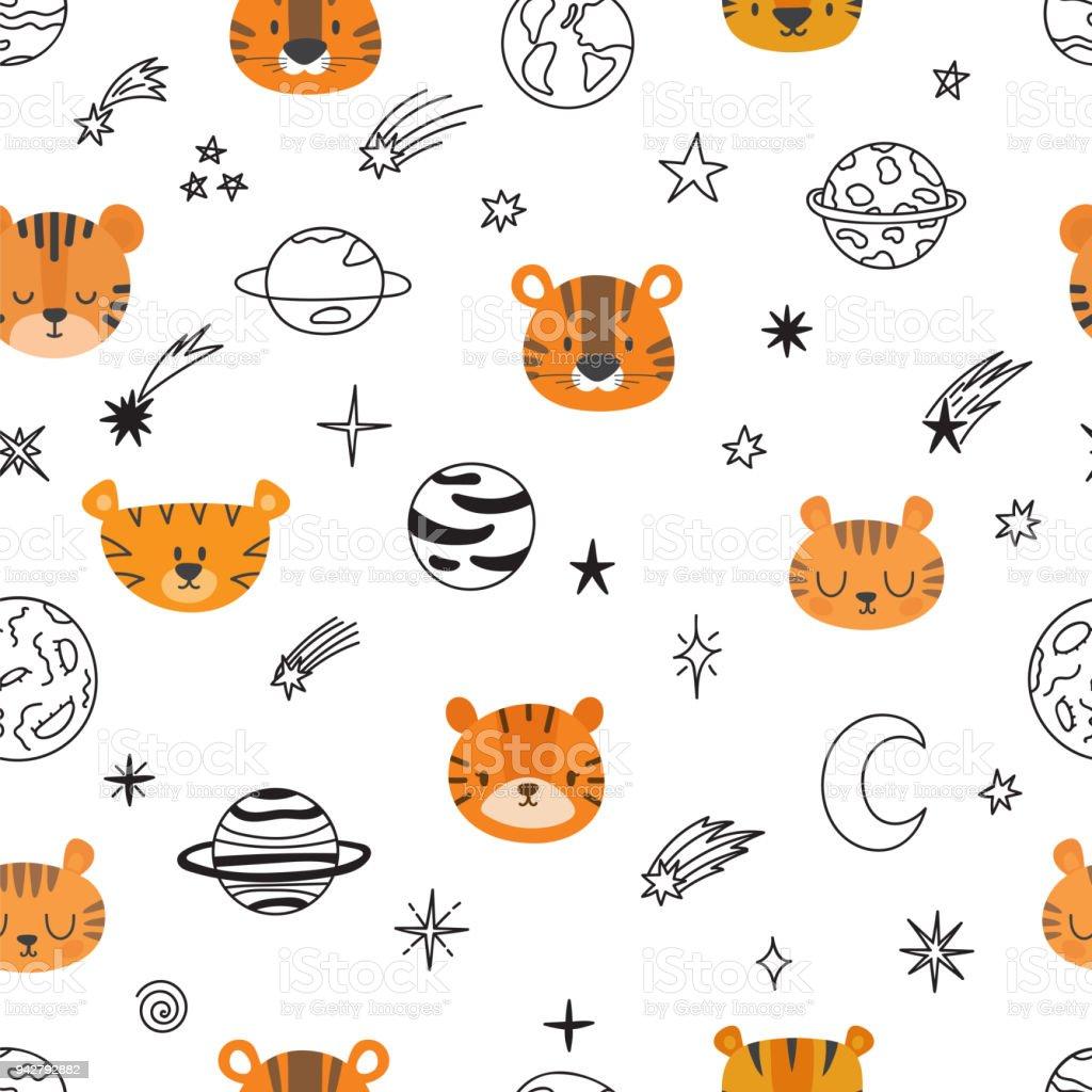 かわいい空間漫画トラとシームレスなパターン抽象的なプリント小さな子供