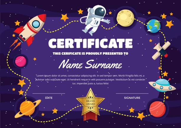 Cute Space Theme Children Certificate Of Achievement And Appreciation Template A cute print certificate template suitable for children graduation. elementary age stock illustrations