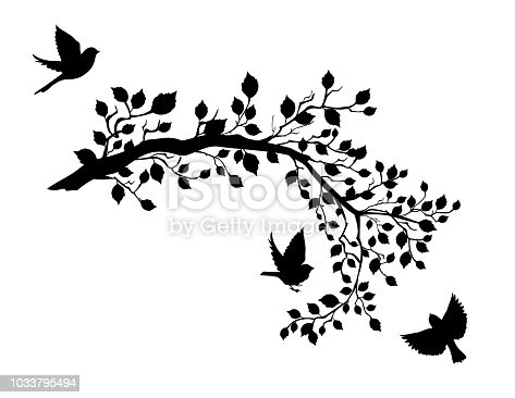Cute sparrow silhouettes perched or flying around tree branches. Flat color, easy to change the colors. Each leaf is an individual element.