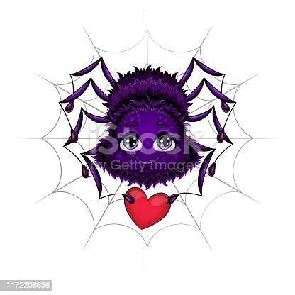 istock Cute spider with red heart. Vector illustration. 1172206636
