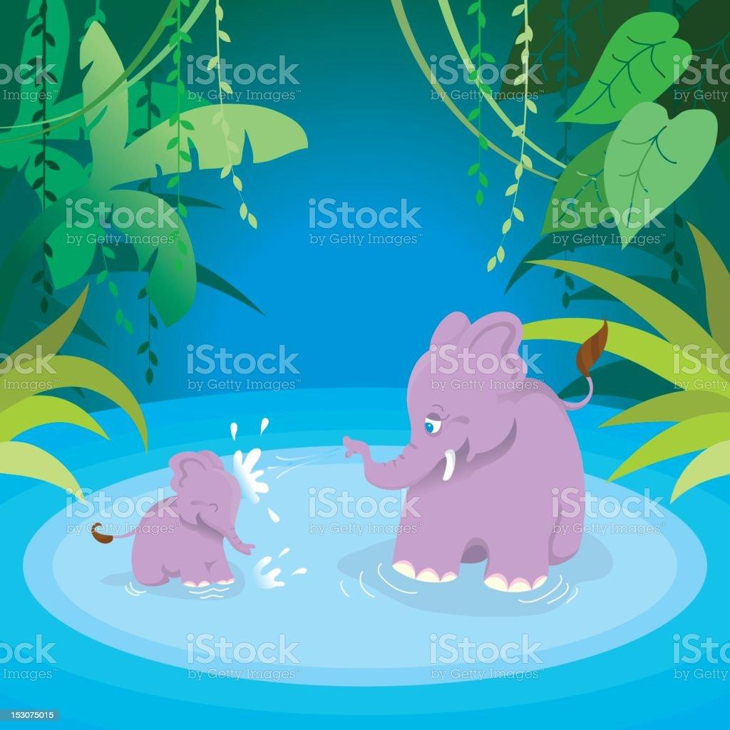 Cute splashing elephants mom and baby vector art illustration