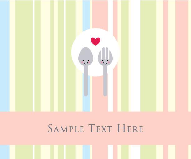 süße Löffel und Gabel Valentinstag Hochzeit Karte Vektor – Vektorgrafik