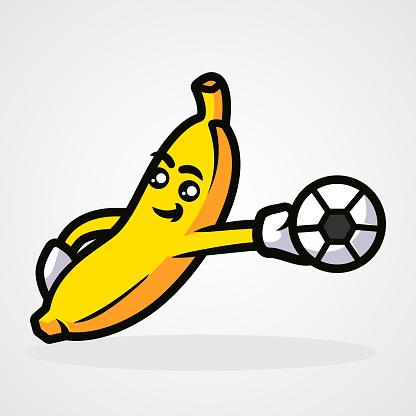Cute sport banana mascot