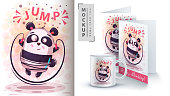 Cute sport panda - mockup for your idea