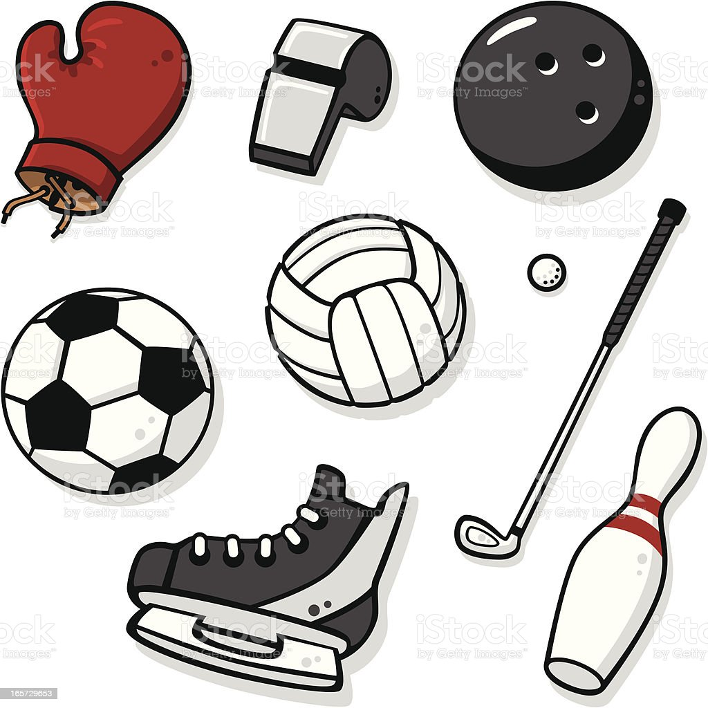 Cute Sports Equipment 2 Stock Vector Art & More Images of ...