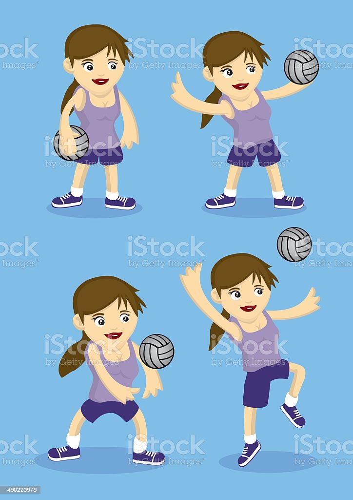 Set of four vector cartoon girl playing volley ball. Illustration...