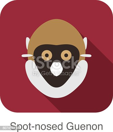 cute Spot-nosed Guenon monkey face flat icon design