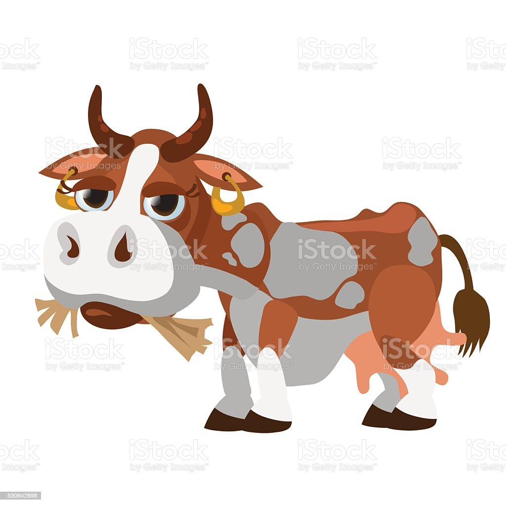 ilustração de bonito manchado vaca se render a salgadinhos hay