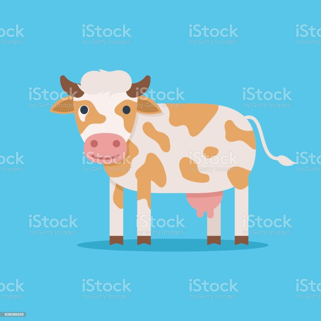Cute spotted cow vector art illustration